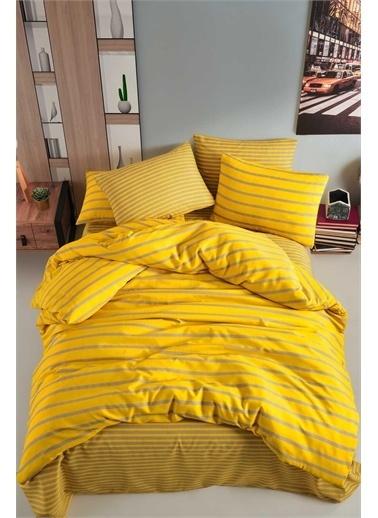Fancy Tek Kişilik Nevresim Takımı - Stripe Sarı Sarı